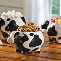 Mini Cow Ceramic Snack Bowls from Collections Etc.