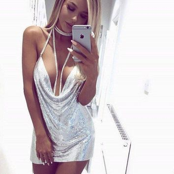 Stylish Club Backless Chain Spaghetti Strap Metal One Piece Dress [471502159913]