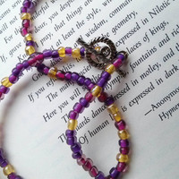 Seed Bead Necklace - Bohemian - Gypsy - Purple, Magenta, Gold
