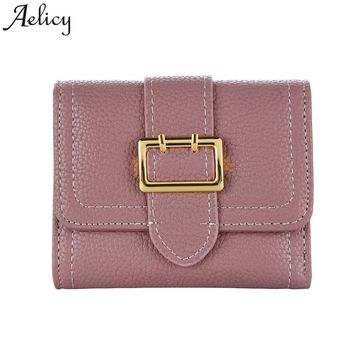 Aelicy Simple Women Leather Wallet VintageTri-Folds Luxury Cash Purse Girl Small Black Clutch Coin Purses carteira masculina