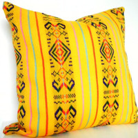 Decorative Pillow in Mustard Yellow. Tribal Pillows. Aztec. Bright. 14x14 Inch. Yellow, red, pink, blue,and green.