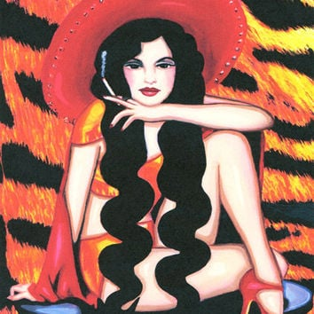 mexican pin up girl original folk art print original artwork contemporary mexican woman paintings tiger skin background modern Mexican art