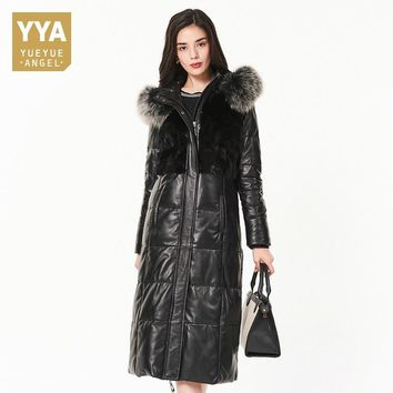 2018 Winter Luxury Women Fox Fur Collar Hoody Long Genuine Leather Down Jacket Mink Fur Spliced Coat Trench Warm Female Overcoat