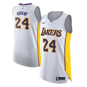 Kobe Bryant Los Angeles Lakers # 24 Nike White Authentic Association Edition Jersey - Best Deal Online