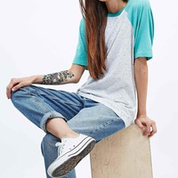 BDG Neppy Baseball Raglan Tee in Ivory and Green - Urban Outfitters