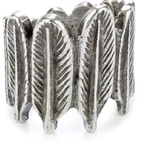 House of Harlow 1960 Sterling Silver-Plated Feather Row Ring, Size 6