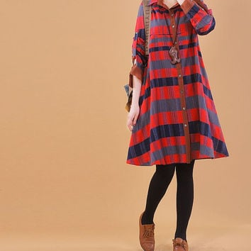 2014 Spring Cotton dress cotton shirt long sleeve dress large size dress cotton blouse cotton top plus size dress casual loose dress - Red