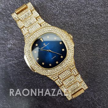 Raonhazae Hip Hop Iced Lab Diamond 14K Drake Drizzy Blue Face Gold Plated Black Face Watch with Stone