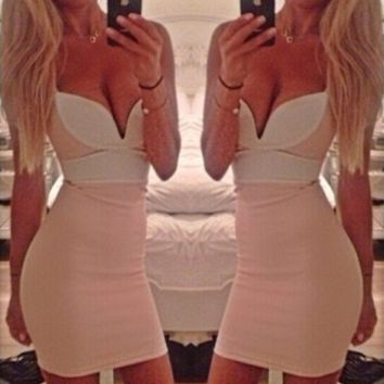 Block Strap V Neck Bodycon Dress