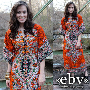 Vintage 70's Ethnic Print Hippie Boho Angel Sleeve Kimono Caftan Maxi Dress S M