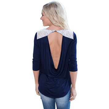 Chicloth Navy Lace Shoulder Low Cut Back Top