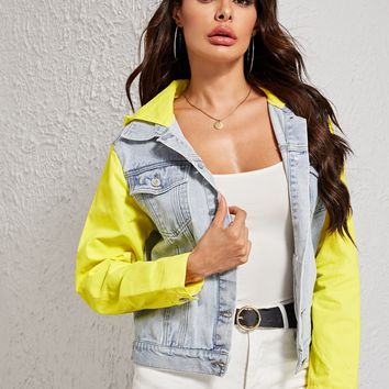 Two Tone Pocket Patch Denim Jacket