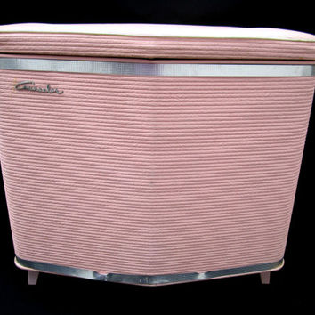 Clothes Hamper Pink Counselor Clothes Bin Laundry Vintage Mid Century Retro