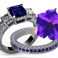 4.5 carat Diamonds Sapphire Bridal Set Princess cut Classic 3-stone Diamond Ring White gold engagement party engaged