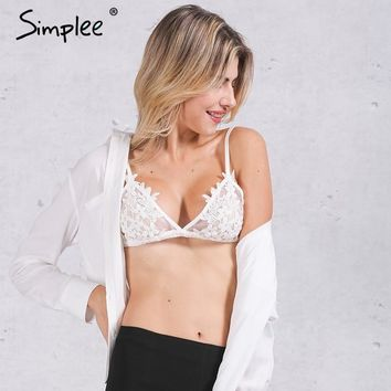 Simplee Sexy transparent unpadded wire free white  bras Mesh fringe black lace bralette women Adjustable strap lingerie crop top