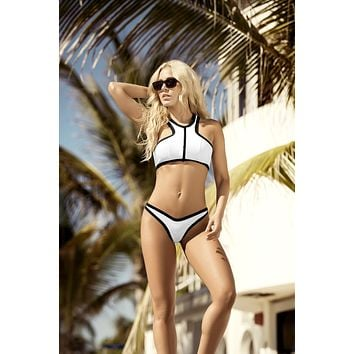 White w/ Black Contrast Trim High Neck Racer Back Top & High Hip Leg Bikini Bottom Swimsuit Swimwear
