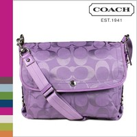 Coach Signature Kyra Nylon Flap Laptop Messenger Bag 16553 Lilac Purple