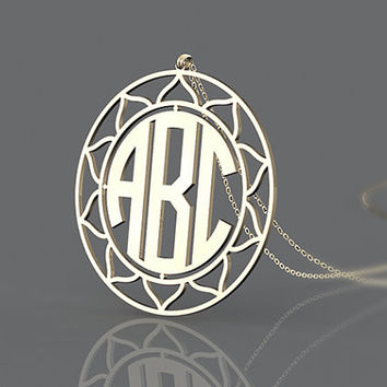 Golden circle monogram necklace--personalized 1.25 inch sunflower style gold plated necklace