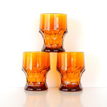 Vintage 60s Glasses Amber Glassware Set of 3