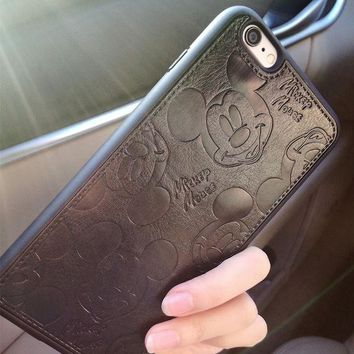 LMFONHS PU Leather Cartoon Mickey Cases For iPhone 7 6 6S Plus Soft White Black Mouse Hard Shell Cover for iPhone 7 7Plus