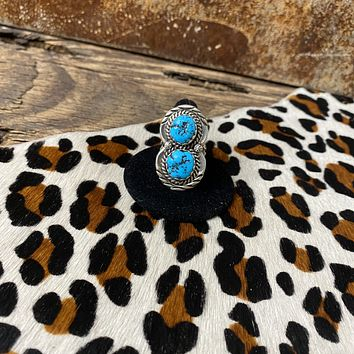 Genuine Turquoise & Sterling Silver Figure 8 Ring