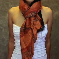 Orange Scarf  Silk Cotton Scarf  Hand Painted Scarf by JooJoobs