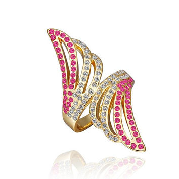 Gold Plated Coral Jewels Floral Orchid Ring