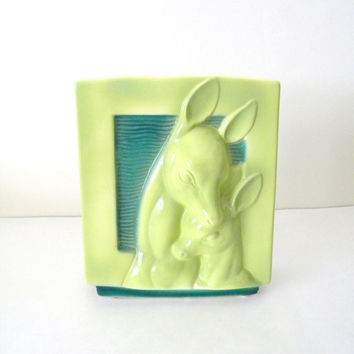 Vintage 1940s Art Deco Doe and Fawn Vase / Planter in Lime Green and Emerald Green, Made by Royal Copely, Woodland Decor
