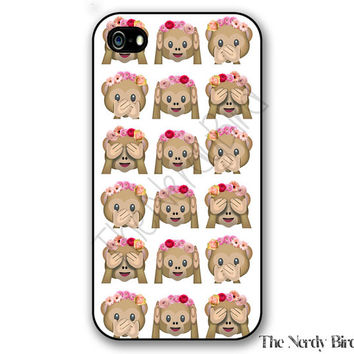 Emoji Monkeys with Flowers iPhone 4, 5, 5C, 6 and 6 plus and Samsung Galaxy s3, s4, and s5 Phone Case