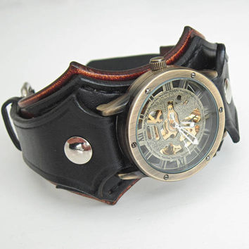 Mens Wrist Watch Bracelet, Steampunk Watches, Worldwide Shipping, Gifts For Him, Leather Cuff Wrist Watch