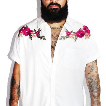 PLUS: Embroidered Roses Shirt - White