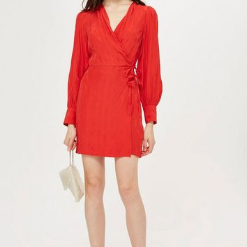 Jacquard Wrap Mini Dress - Dresses - Clothing