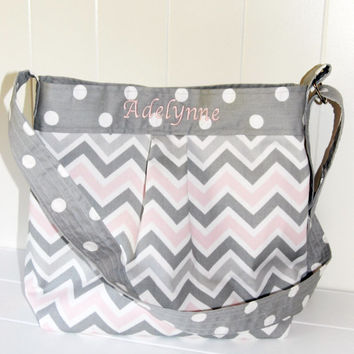 EMBROIDERED Medium Diaper Bag , Grey and Pink Chevron and Polka dots- The Parker
