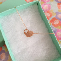 SALE-Valentine's Day Rose Gold Heart Necklace,Women's Necklace,Heart Necklace,Cute Necklace,Bridesmaid Gift,Dainty Necklace,Birthday Gift
