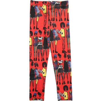 Junior Gaultier - Girls Lady Print Leggings, Red