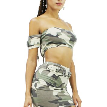 Soft Camo Off Shoulder Crop Top and Belted High Waist Mini Skirt Set