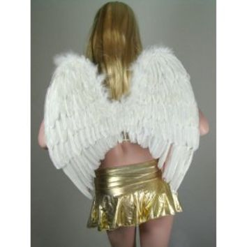 SACASUSA (TM) Large White Feather Angel Wings w/ Free Halo for Adults, Women, and Men