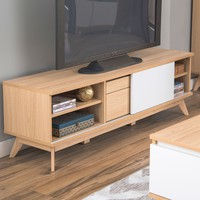 Modern Mid-Century Style TV Stand Entertainment Center in Natural Finish