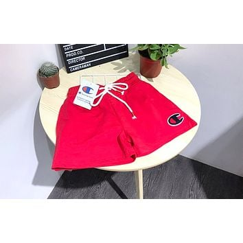 Champion new women's embroidery small standard cotton drawstring sports leisure beach shorts Red