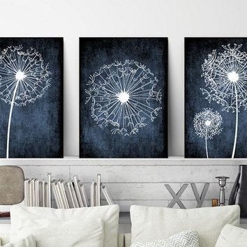 DANDELION Wall Art, Navy Bedroom Pictures, Dandelion Art CANVAS or Prints, Navy Bathroom Decor, Dorm Room Decor, Set of 3, Navy Home Decor