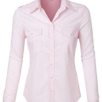LE3NO Womens Lightweight Long Sleeve Button Down Shirt with Pockets