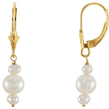 14K Yellow Gold Triple Pearl Post Earrings