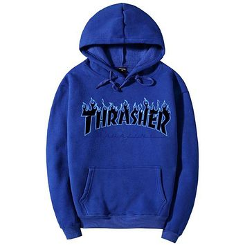 """Thrasher""Men Women hooded sweater flame slide hip sweater Blue"