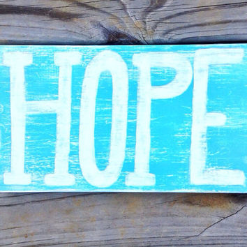 Hope Distressed Blue and White Reclaimed Wood Hand Painted Beach Sign