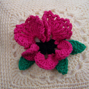 Beautiful and unique hand crocheted pansy pillow, hot pink color really pops on this relief crochet flower