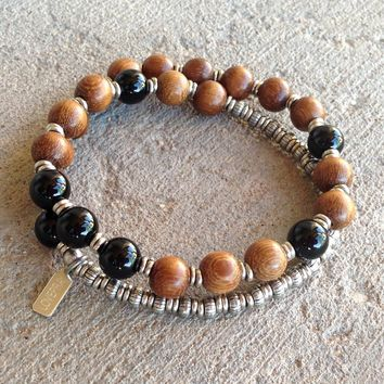 Patience, Onyx and Wood 27 Bead Unisex Wrap Mala Bracelet