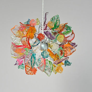 Ceiling chandelier, pastel color flowers and leaves.