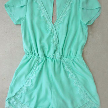 Mint Lace Affair Romper
