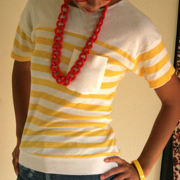 Vintage 80s buttercup striped pocket tee