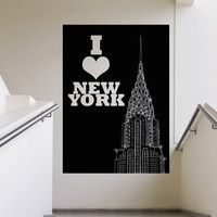 Vinyl Wall Decal Sticker I Love New York Chrysler #5205